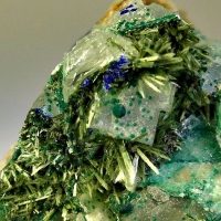 Olivenite Cornwallite & Azurite On Fluorite & Baryte